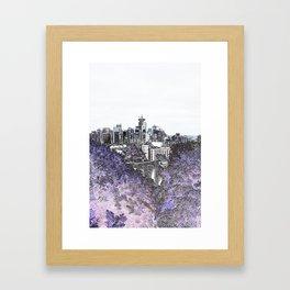 Seattle skyline edges (light, purple2) Framed Art Print