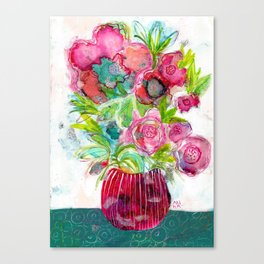 Pink Flowers and Green Leaves Canvas Print