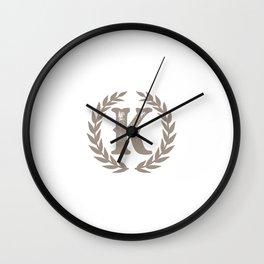 Beige Monogram: Letter K Wall Clock