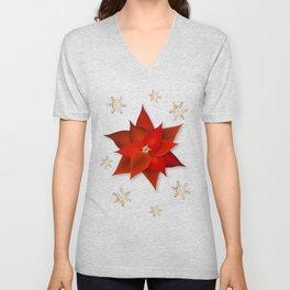 Christmas Poinsettias Unisex V-Neck