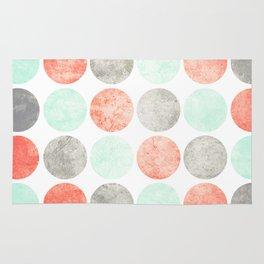 Circles (Mint, Coral & Gray) Rug