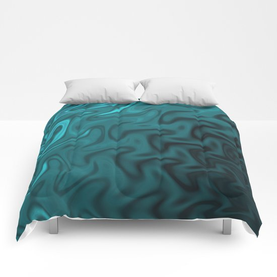 Ripples Fractal in Ocean Blue Comforters