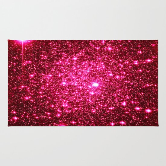 Hot Pink Glitter Stars Rug By 2sweet4words Designs