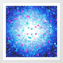 Royal Blue Crystal Mosaic Pattern Art Print