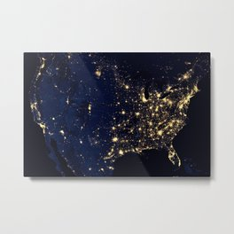 NASA Satellite North America and United States aerial view from outer space at night photography / photographs Metal Print