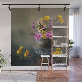 Japanese Stone Vase and Flowers Wall Mural