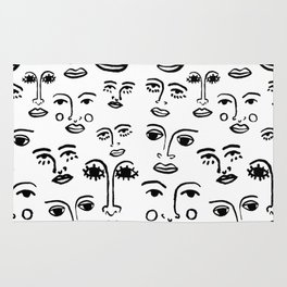 Funky Faces in White Rug