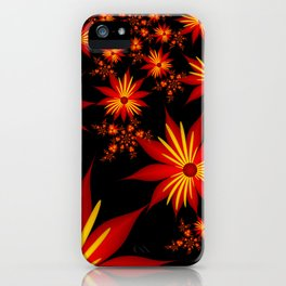 Red and Yellow Flowers on Black Background Fractal iPhone Case