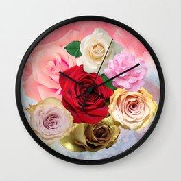 Rose Garden - Floral Spring Summer Roses Design Wall Clock