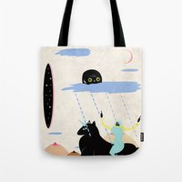 girl power Tote Bags featuring GIRL POWER by Alba Blázquez