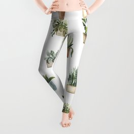 Potted Plants Watercolor Pattern Leggings