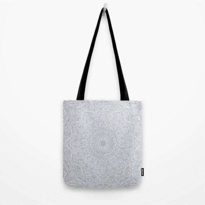 Most Detailed Mandala! Cool Gray White Color Intricate Detail Ethnic Mandalas Zentangle Maze Pattern Tote Bag