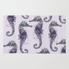 Purple Watercolor Seahorse Rug