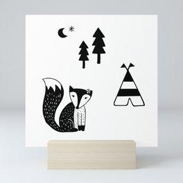 fox, scandinavian forest animals black & white Mini Art Print