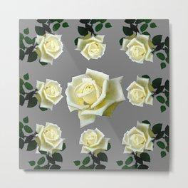 WHITE ROSES GARDEN DESIGN Metal Print