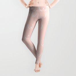 Self Love Boobs Pattern on peach Leggings