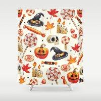 halloween Shower Curtains featuring halloween by Ceren Aksu Dikenci