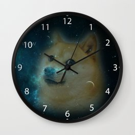 shibe doge in space Wall Clock