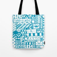 because cats Tote Bags featuring Because Cats by Lizzy East