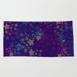 Purple and Stars Beach Towel