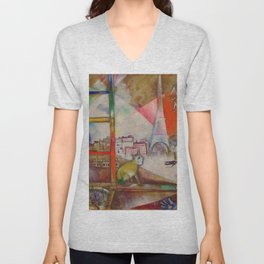 'Paris Through the Window - Eiffel Tower, Seine, & Left Bank' by Marc Chagall Unisex V-Neck
