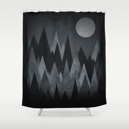 Dark Mystery Abstract Geometric Triangle Peak Wood's (black & white) Shower Curtain