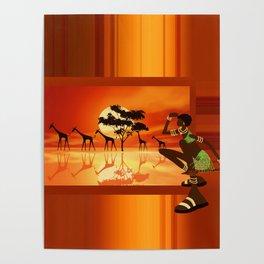 Afrikanische Jägerin Poster