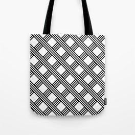 Diagonal Black and White Stripes Grid Lattice Pattern, Minimal Graphic Design Tote Bag
