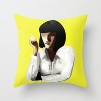 mia wallace Throw Pillows featuring Mia Wallace by Clotilde Petit
