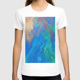 Slow Down Blue II - Bright Blue Green Fluid Painting T-shirt