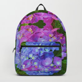 BLUE & PINK HYDRANGEAS GARDEN ABSTRACT FLORAL Backpack