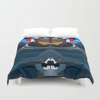 pacific rim Duvet Covers featuring Pacific Rim, Jaws edition by milanova
