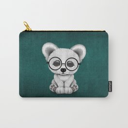 Cute Polar Bear Cub with Eye Glasses on Teal Blue Carry-All Pouch