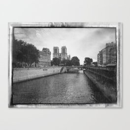 Notre Dame and the Seine River, Black and White Canvas Print