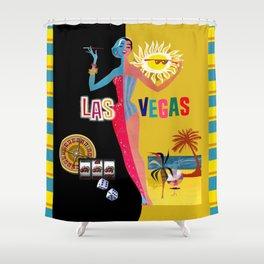 Loving Las Vegas | vintage black & gold Shower Curtain