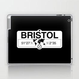 Bristol England GPS Coordinates Map Artwork with Compass Laptop & iPad Skin