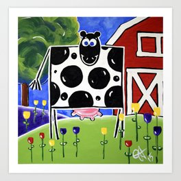 Smiley Smile Dairy Cow Farm Red Barn Moo Holstein Series Milk Flowers Trees Hills Tulips Art Print