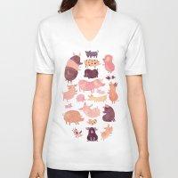 pig V-neck T-shirts featuring Pig Pig Pig  by Chuck Groenink