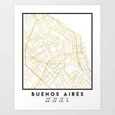 BUENOS AIRES ARGENTINA CITY STREET MAP ART Art Print