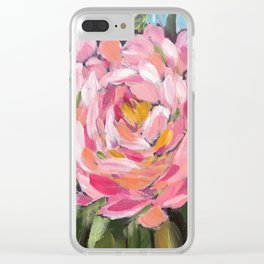 Big Pink Flower Zinnia Clear iPhone Case