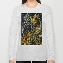 psychedelic sketching line pattern abstract in yellow black and white Long Sleeve T-shirt