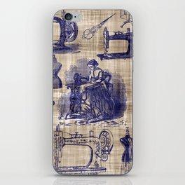 Vintage Sewing Toile iPhone Skin