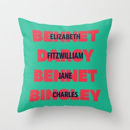 First and Last Names Pride and Prejudice Throw Pillow