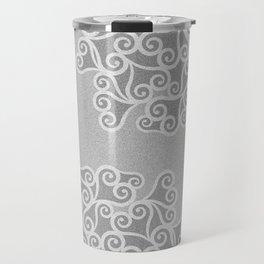 Comtemporary Abstract Leaves Grey Pattern Travel Mug