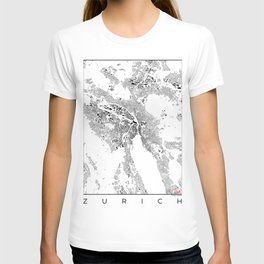 Zurich Schwarzplan Map Only Buildings T-shirt