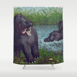 Vintage Illustration of Hippopotamuses (1874) Shower Curtain