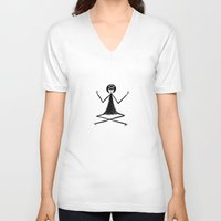 yoga V-neck T-shirts featuring Yoga by flapper doodle