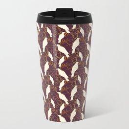 Kereru and magnolia - chocolate  Metal Travel Mug