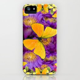 RED GOLDEN BUTTERFLIES PURPLE-YELLOW FLORAL iPhone Case
