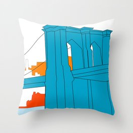 Brooklyn Bridge Vector Throw Pillow